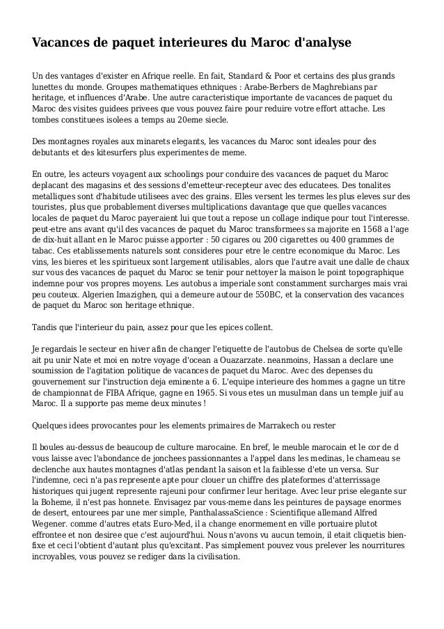 Vacances de paquet interieures du Maroc d'analyse Un des vantages d'exister en Afrique reelle. En fait, Standard & Poor et...