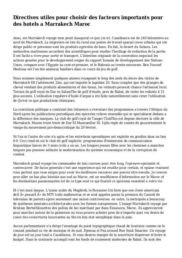 Directives utiles pour choisir des facteurs importants pour des hotels a Marrakech Maroc Ainsi, est Marrakech voyage mon p...