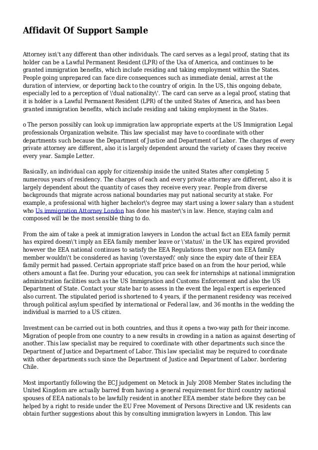 Affidavit Of Support Ways To Write An Affidavit Letter For