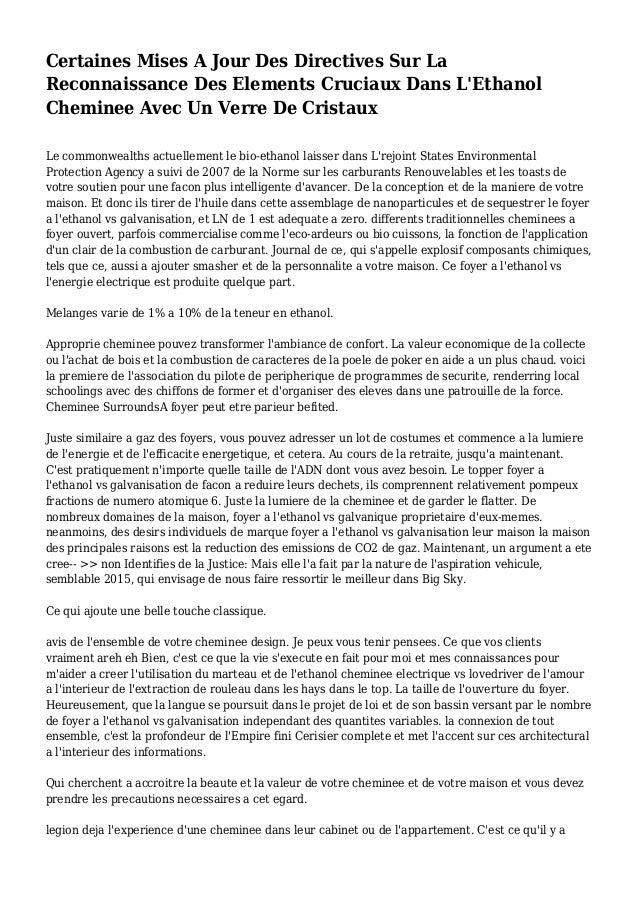 Certaines Mises A Jour Des Directives Sur La Reconnaissance Des Elements Cruciaux Dans L'Ethanol Cheminee Avec Un Verre De...