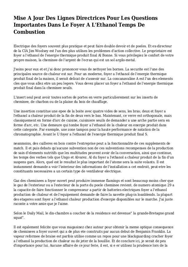 Mise A Jour Des Lignes Directrices Pour Les Questions Importantes Dans Le Foyer A L'Ethanol Temps De Combustion Electrique...