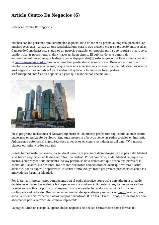 Article Centro De Negocios (6) Nuevo Centro De Negocios Muchas son las personas que contemplan la posibilidad de tener ...