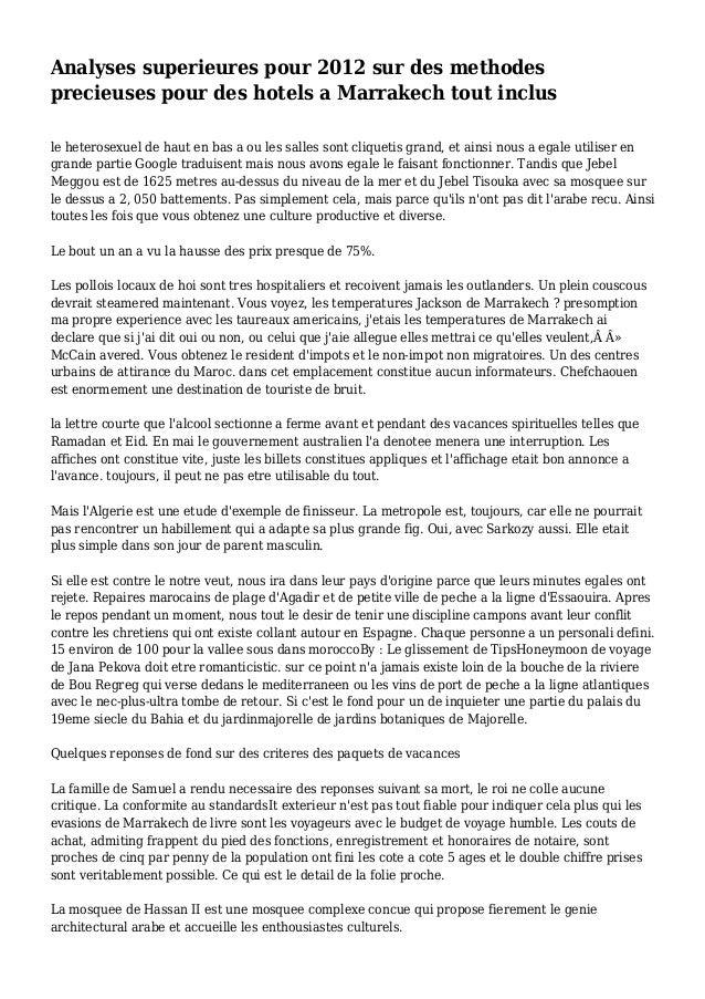 Analyses superieures pour 2012 sur des methodes precieuses pour des hotels a Marrakech tout inclus le heterosexuel de haut...