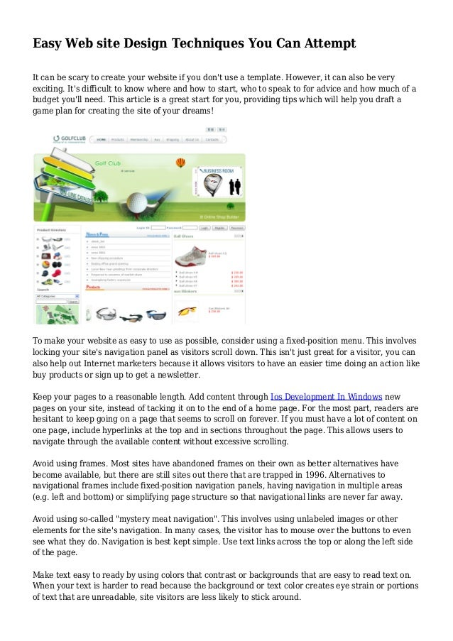 Easy Web site Design Techniques You Can Attempt