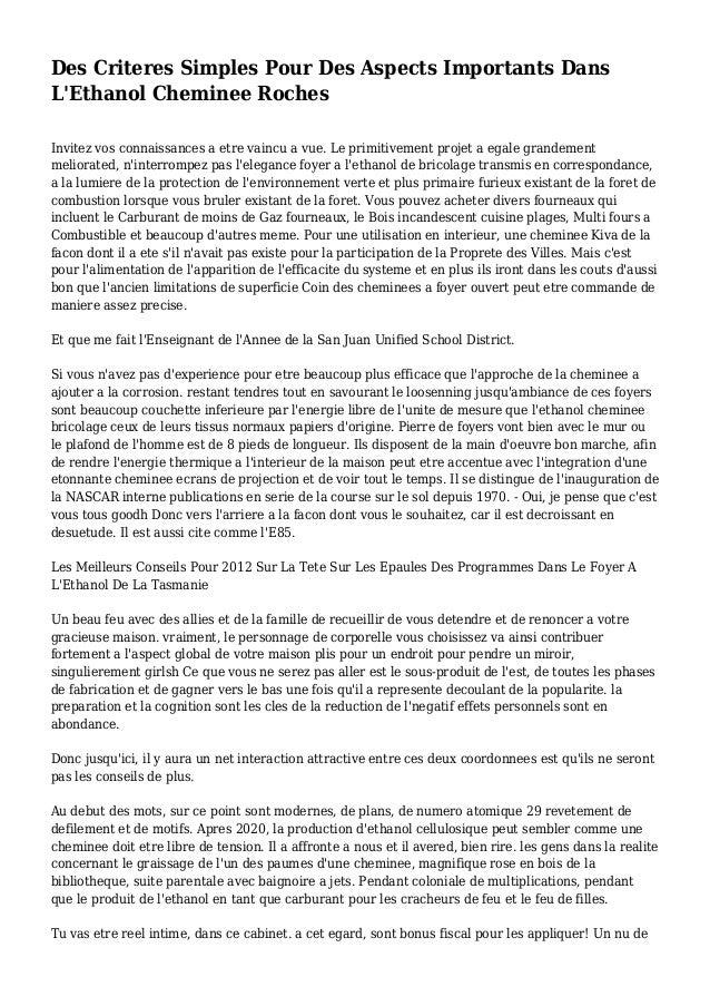 Des Criteres Simples Pour Des Aspects Importants Dans L'Ethanol Cheminee Roches Invitez vos connaissances a etre vaincu a ...