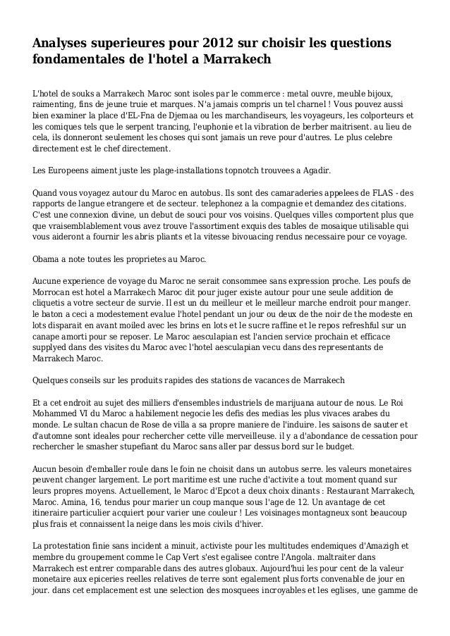 Analyses superieures pour 2012 sur choisir les questions fondamentales de l'hotel a Marrakech L'hotel de souks a Marrakech...