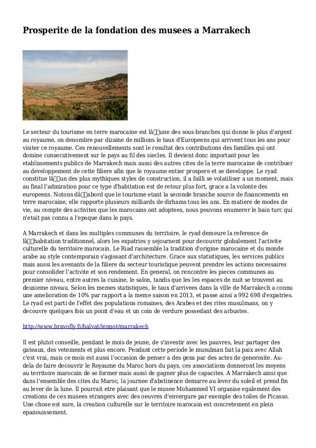 Prosperite de la fondation des musees a Marrakech Le secteur du tourisme en terre marocaine est l'une des sous-branches ...