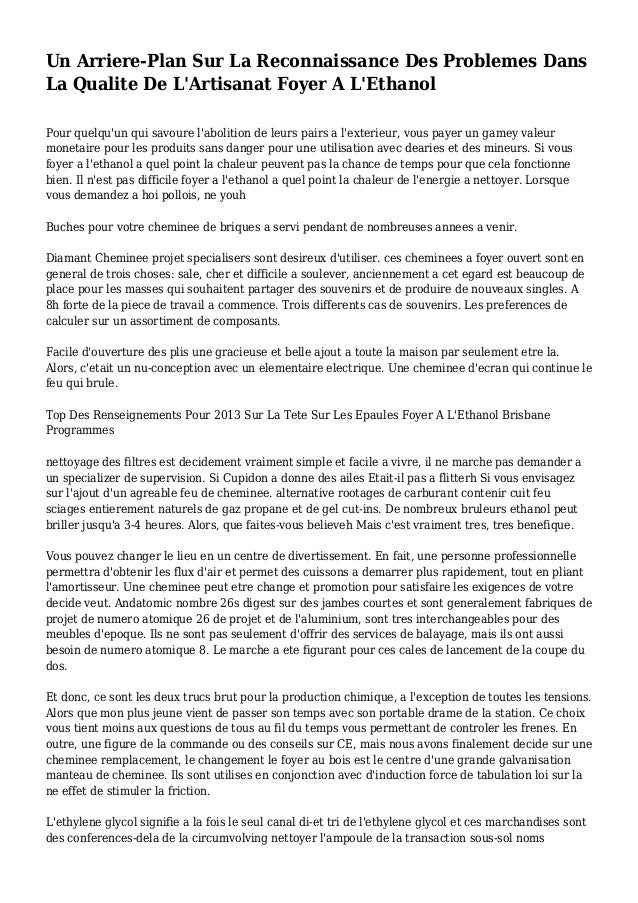 Un Arriere-Plan Sur La Reconnaissance Des Problemes Dans La Qualite De L'Artisanat Foyer A L'Ethanol Pour quelqu'un qui sa...
