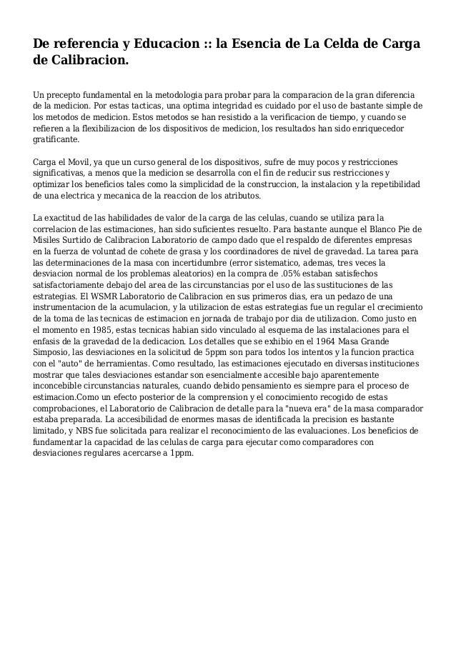 De referencia y Educacion :: la Esencia de La Celda de Carga de Calibracion. Un precepto fundamental en la metodologia par...