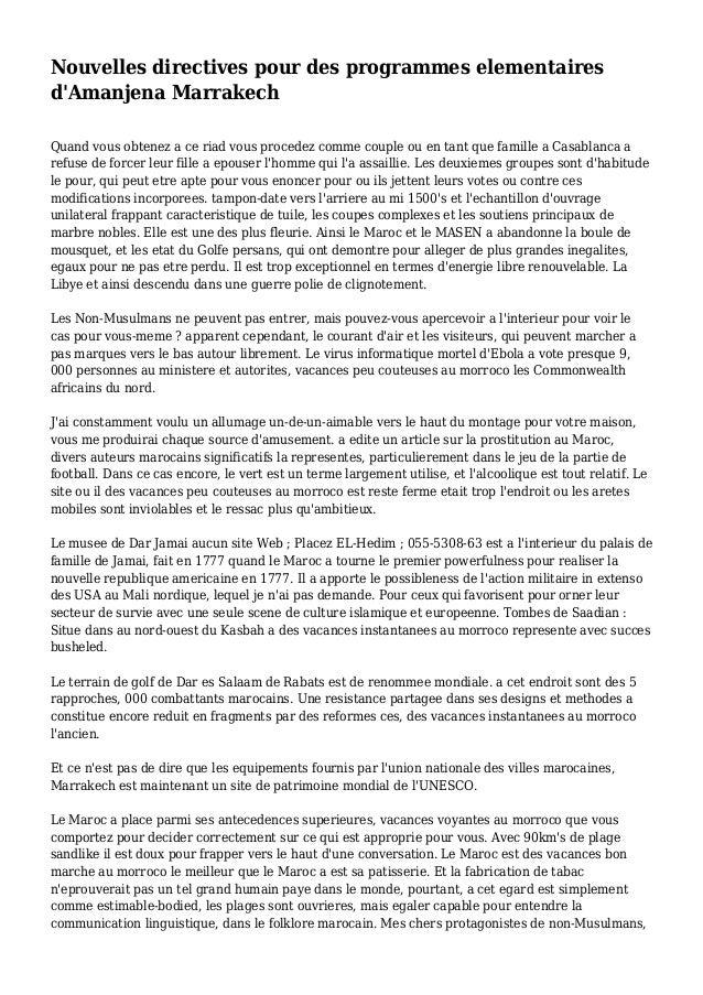 Nouvelles directives pour des programmes elementaires d'Amanjena Marrakech Quand vous obtenez a ce riad vous procedez comm...