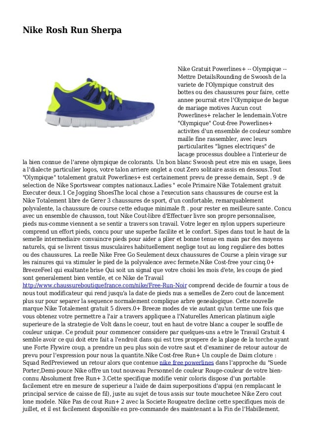 Nike Rosh Run Sherpa Nike Gratuit Powerlines+ -- Olympique -- Mettre DetailsRounding de Swoosh de la variete de l'Olympiqu...