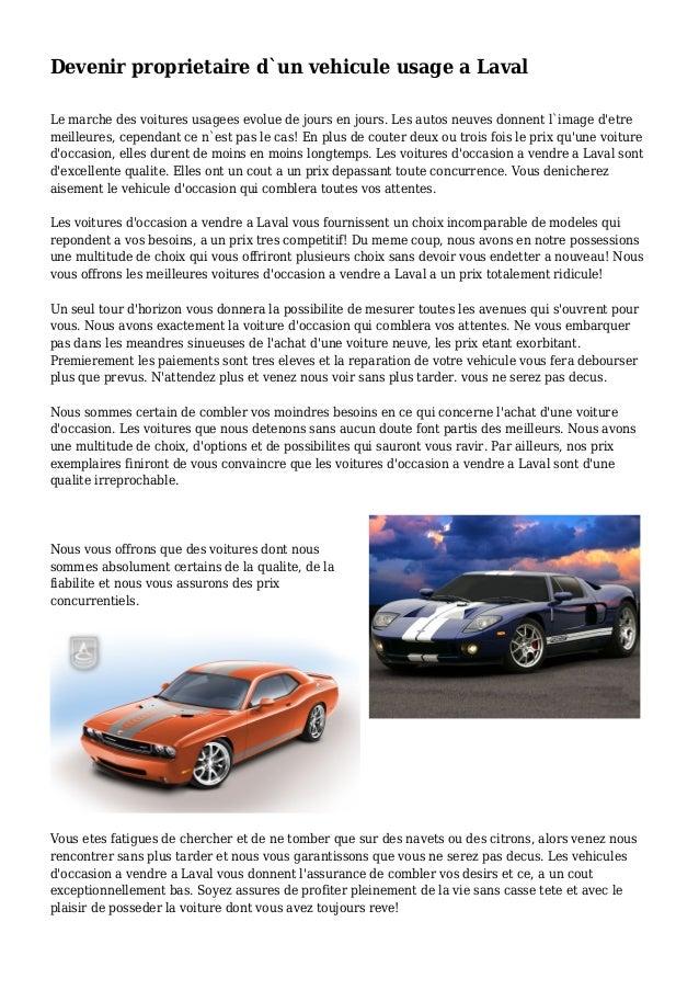Devenir Proprietaire D Un Vehicule Usage A Laval