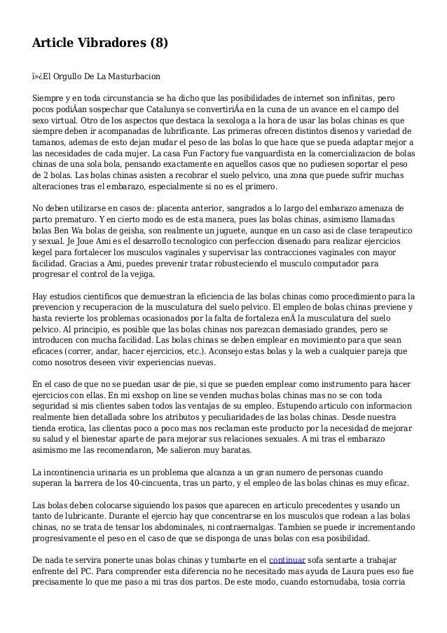 Article Vibradores (8) El Orgullo De La Masturbacion Siempre y en toda circunstancia se ha dicho que las posibilidades ...