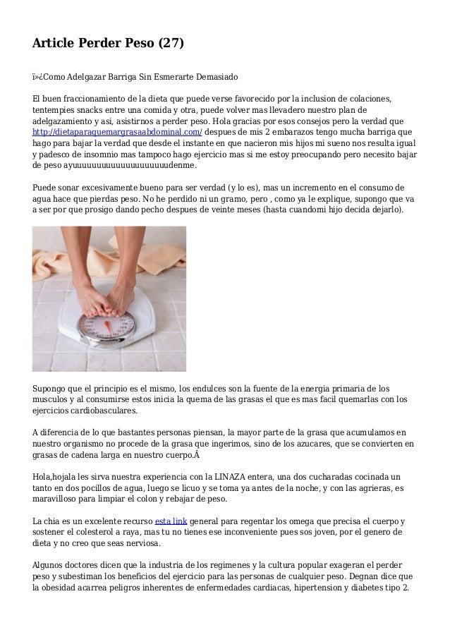 Article Perder Peso (27) Como Adelgazar Barriga Sin Esmerarte Demasiado El buen fraccionamiento de la dieta que puede v...