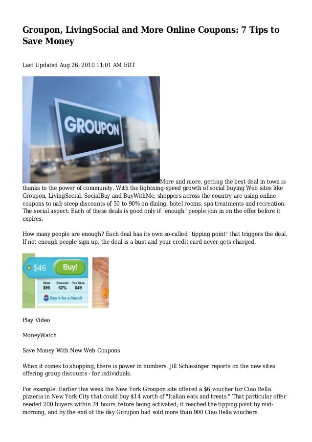 Groupon, LivingSocial and More Online Coupons: 7 Tips to
