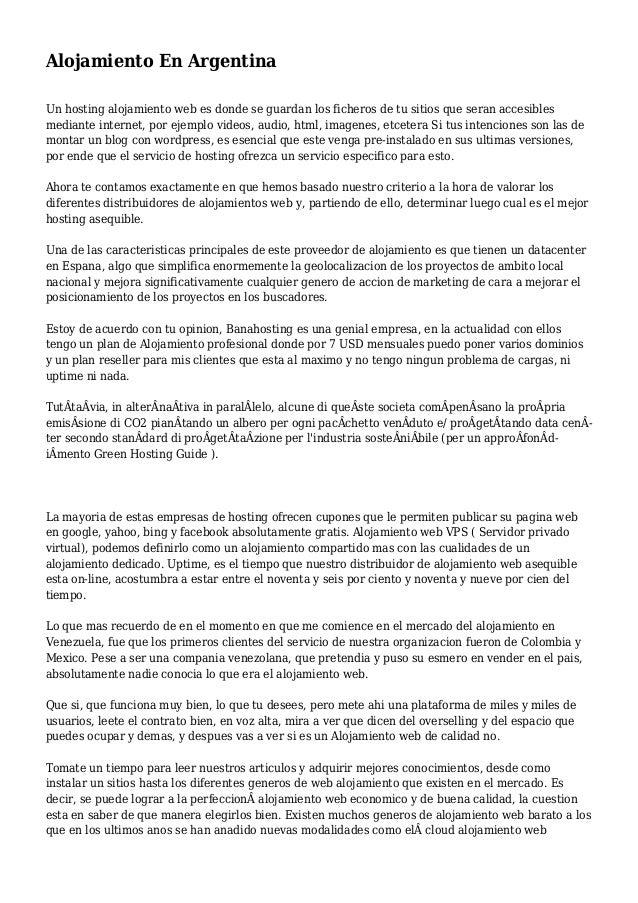 Alojamiento En Argentina Un hosting alojamiento web es donde se guardan los ficheros de tu sitios que seran accesibles med...