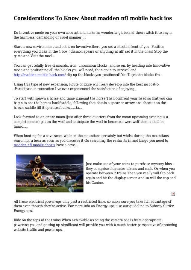 considerations to know about madden nfl mobile hack ios