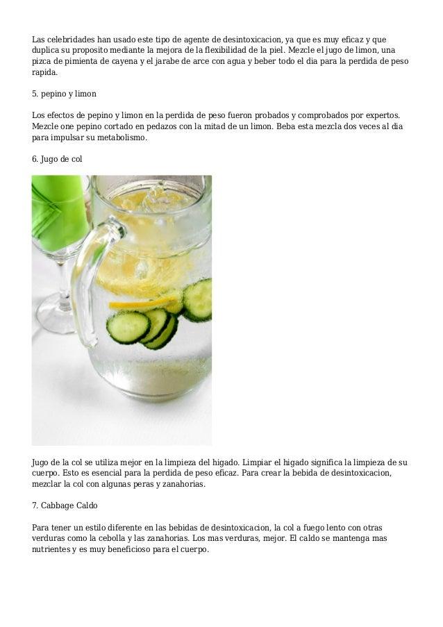 Bebidas para bajar de peso caseras