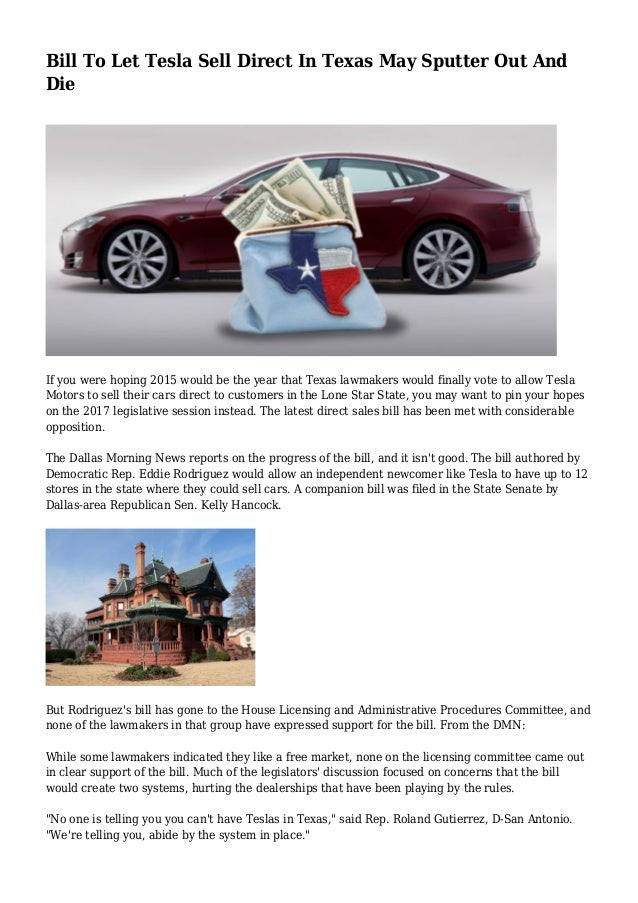 bill to let tesla sell direct in texas may sputter out and die