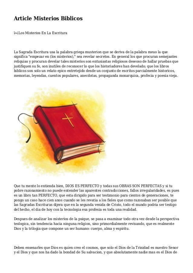 Article Misterios Biblicos Los Misterios En La Escritura La Sagrada Escritura usa la palabra griega musterion que se de...