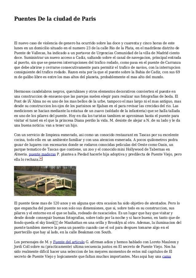 Puentes De la ciudad de Paris El nuevo caso de violencia de genero ha ocurrido sobre las doce y cuarenta y cinco horas de ...