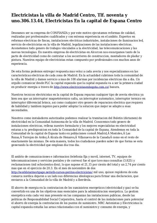 Electricistas la villa de madrid centro tlf noventa y - Electricistas en madrid ...
