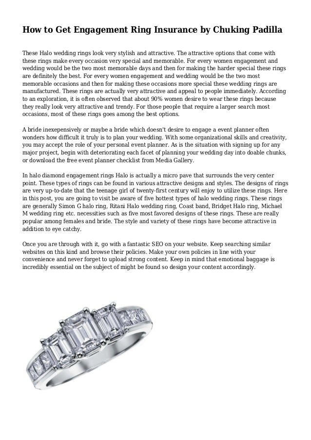 How to Get Engagement Ring Insurance by Chuking Padilla These Halo wedding rings look very stylish and attractive. The att...