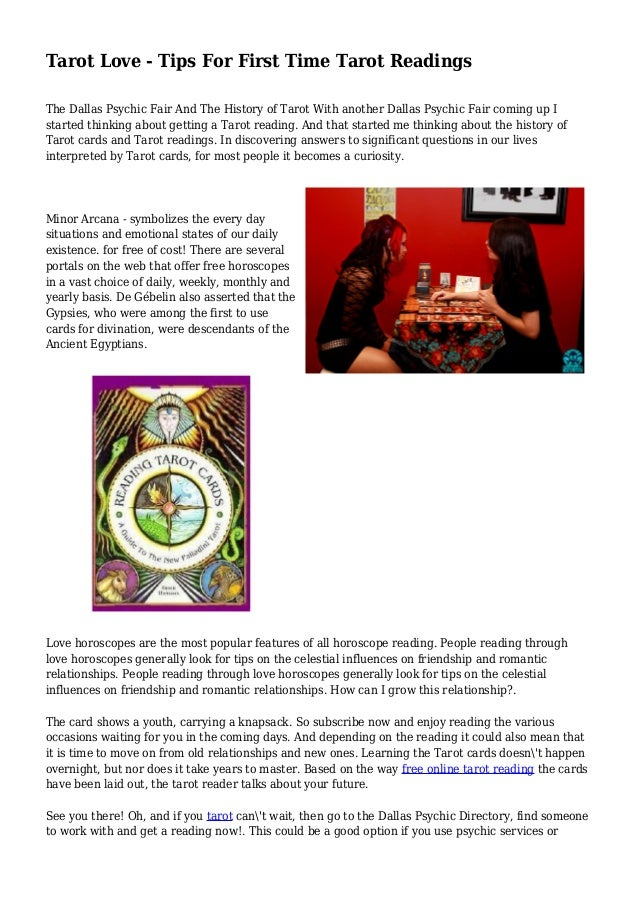 Tarot Love - Tips For First Time Tarot Readings The Dallas Psychic Fair And  The History ...
