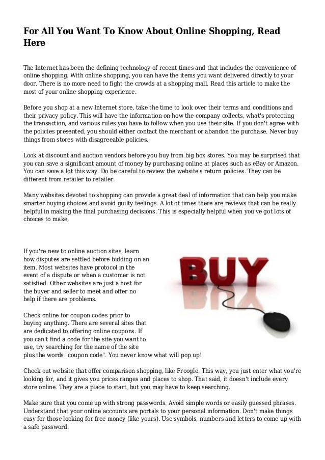 For All You Want To Know About Online Shopping Read Here