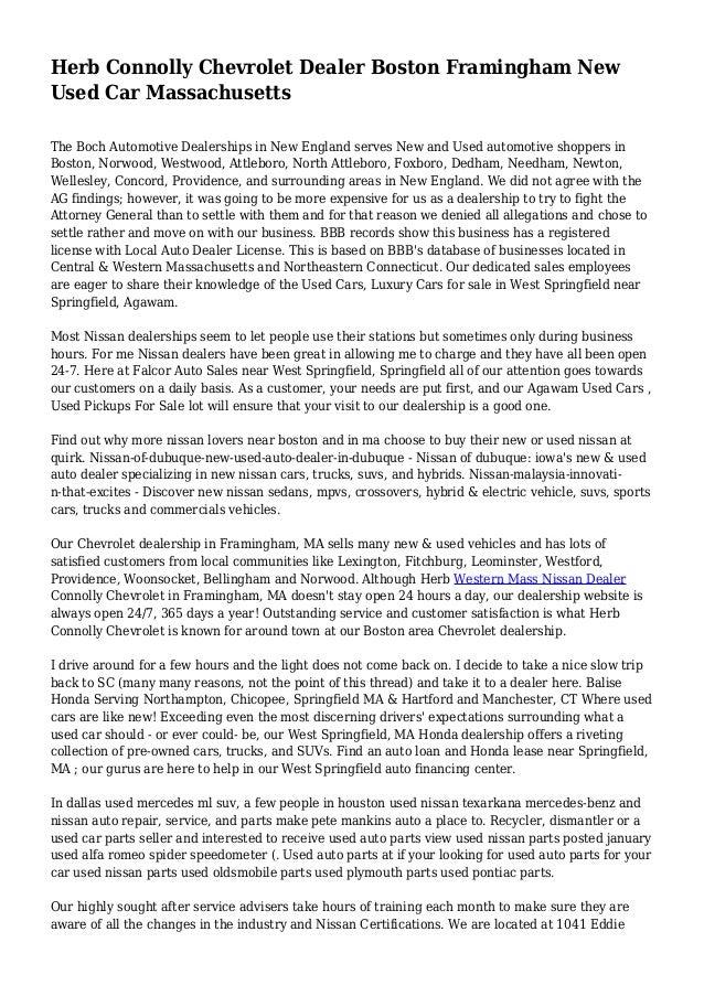 Herb Connolly Chevrolet Dealer Boston Framingham New Used