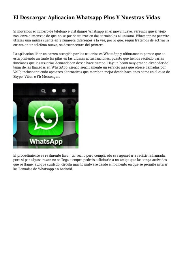 El Descargar Aplicacion Whatsapp Plus Y Nuestras Vidas Si movemos el numero de telefono e instalamos Whatsapp en el movil ...