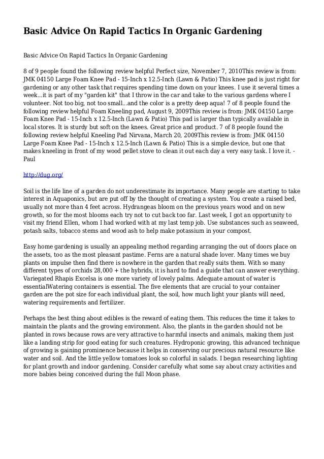 Basic Advice On Rapid Tactics In Organic Gardening Basic Advice On Rapid Tactics In Organic Gardening 8 of 9 people found ...