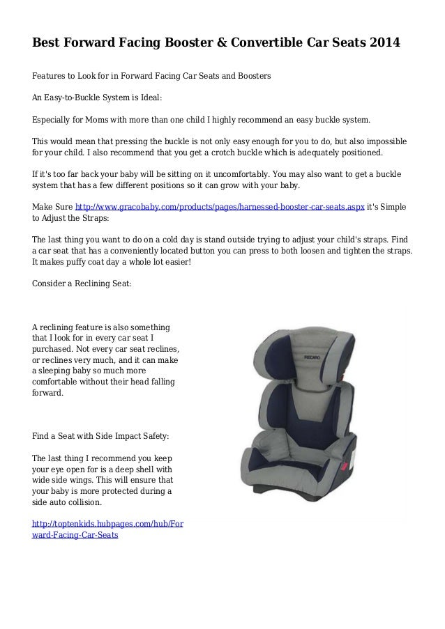 Best Forward Facing Booster Convertible Car Seats 2014 Features To Look For In