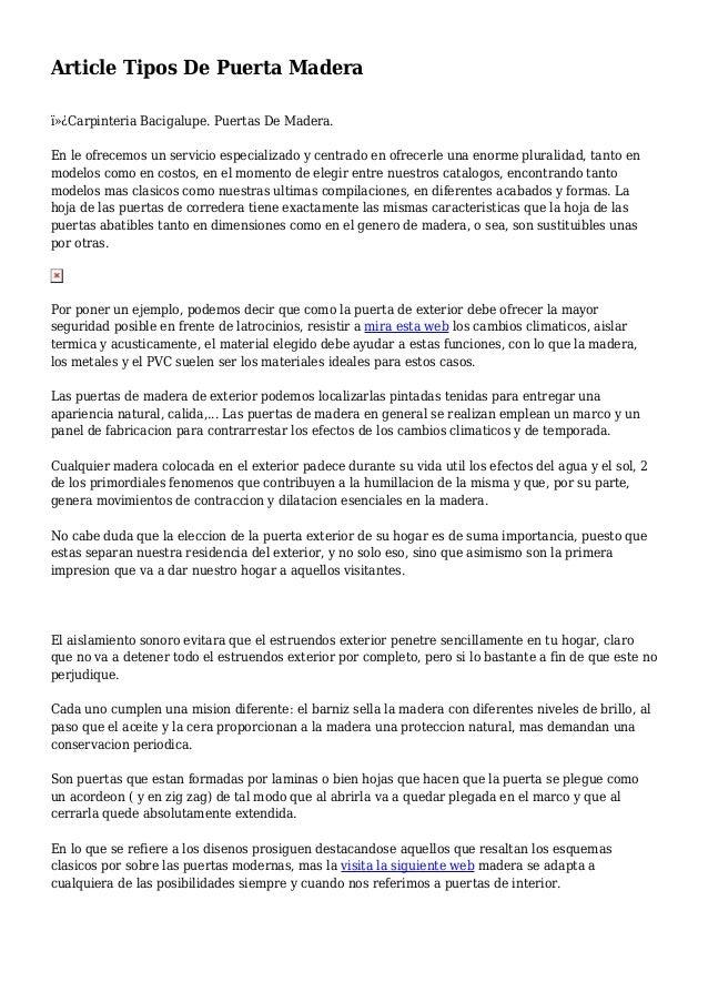 Article Tipos De Puerta Madera