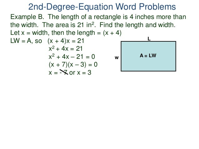 14 2nd degree-equation word problems