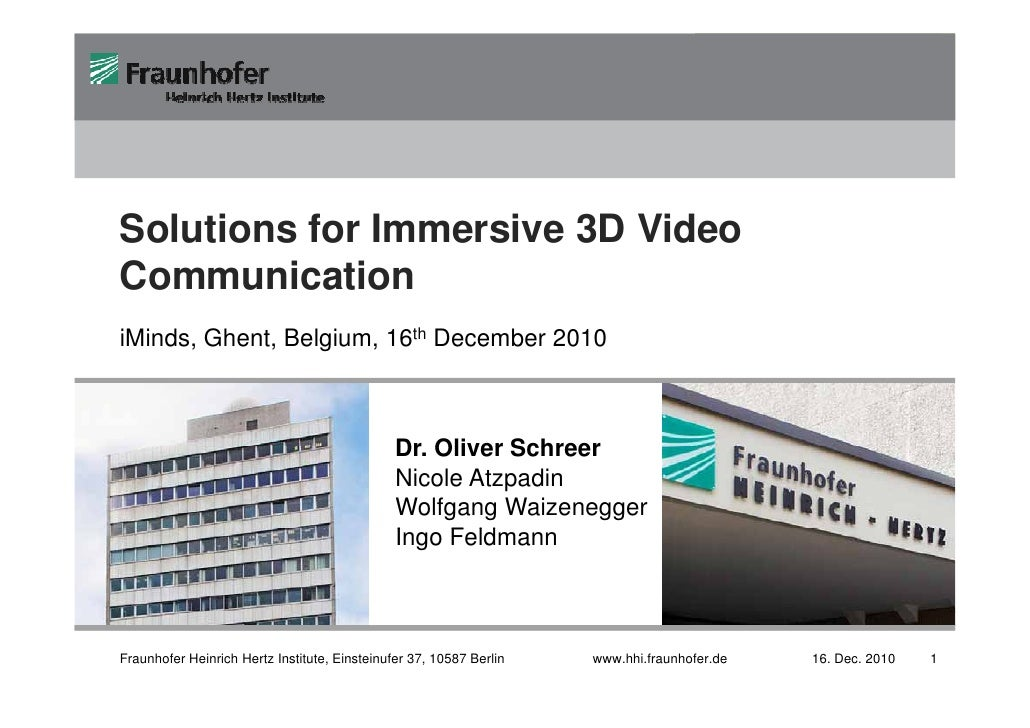 Fraunhofer                                                                                       Image Processing         ...