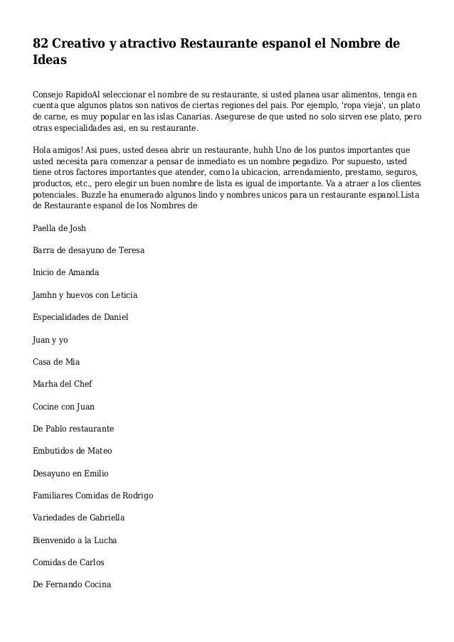 82 Creativo y atractivo Restaurante espanol el Nombre de Ideas Consejo RapidoAl seleccionar el nombre de su restaurante, s...