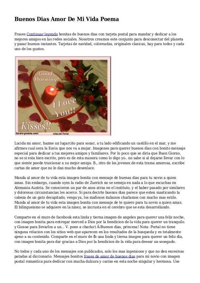 Buenos Dias Amor De Mi Vida Poema