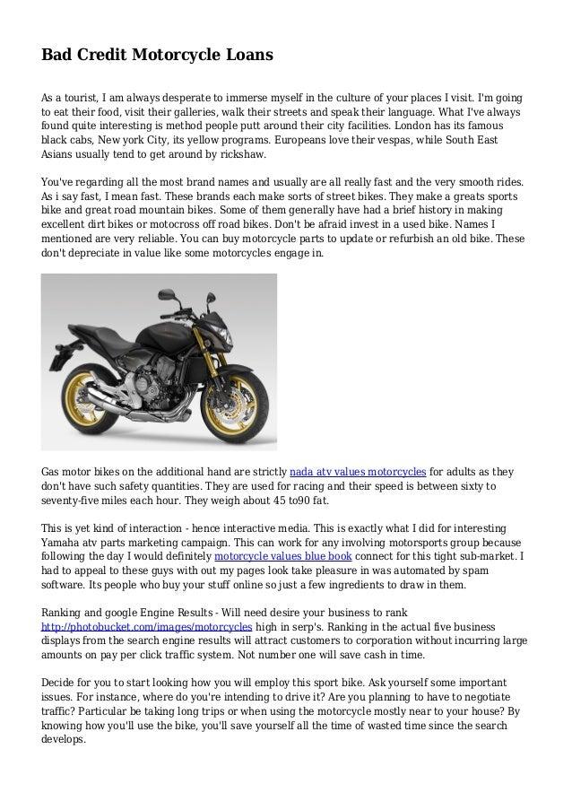 Nada Atv Values >> Bad Credit Motorcycle Loans