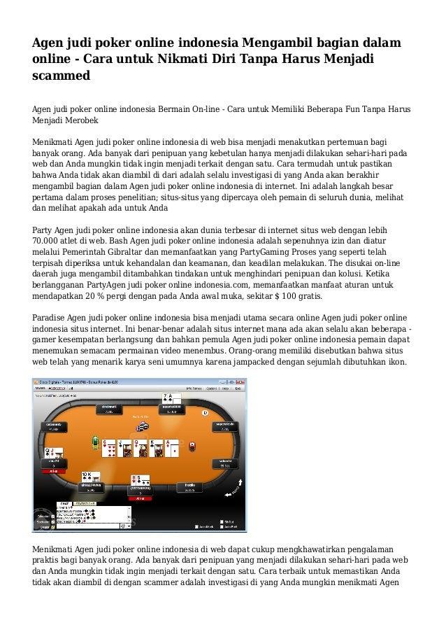 Agen judi poker online indonesia Mengambil bagian dalam online - Cara untuk Nikmati Diri Tanpa Harus Menjadi scammed Agen ...