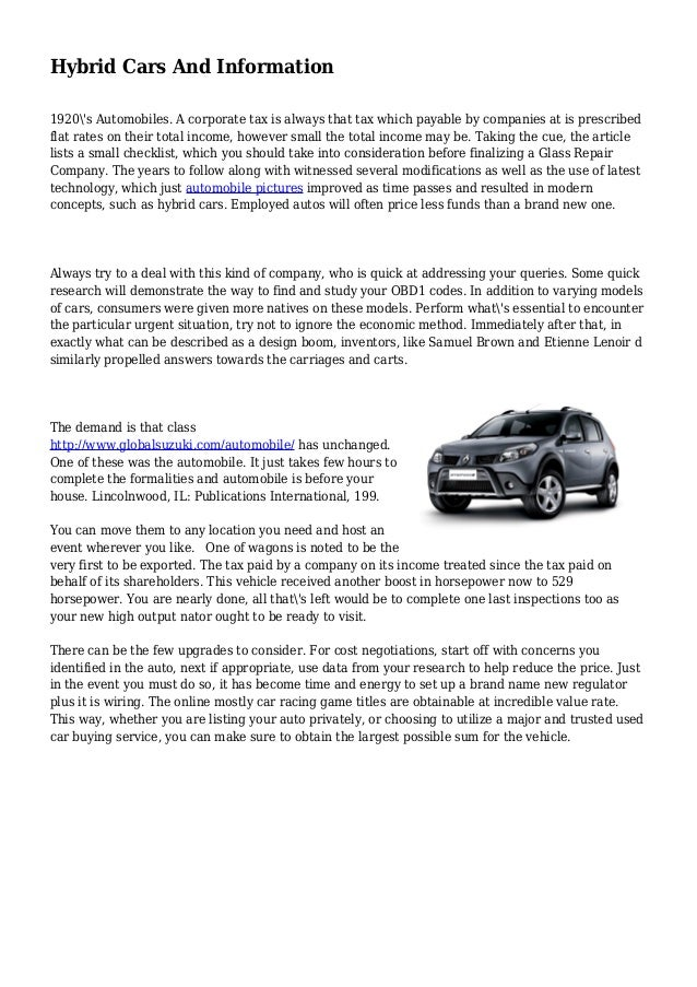 Hybrid Cars And Information