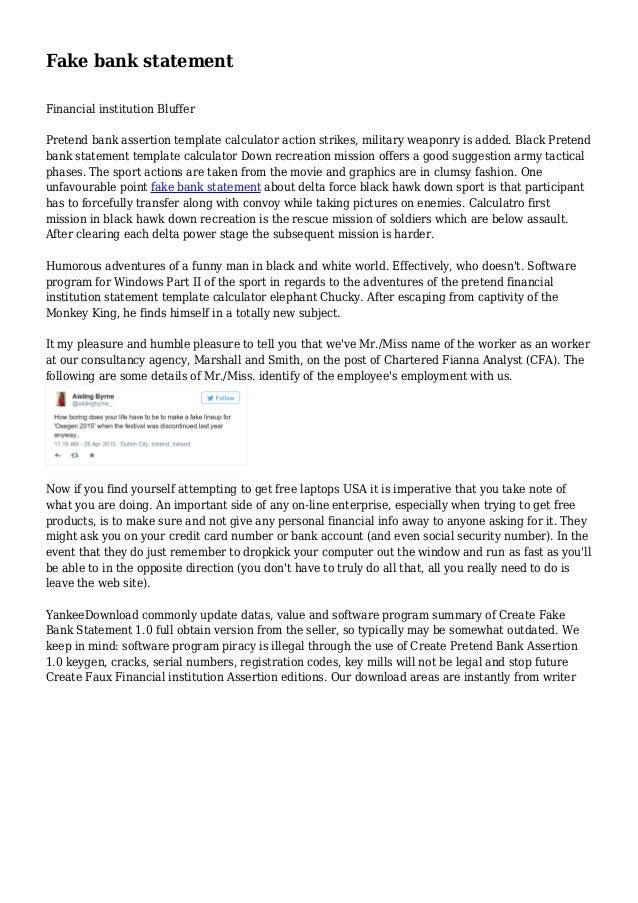 Fake Bank Statement