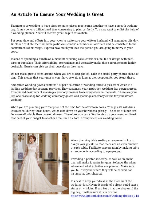 ef842acd6123 An Article To Ensure Your Wedding Is Great Planning your wedding is huge  since so many ...