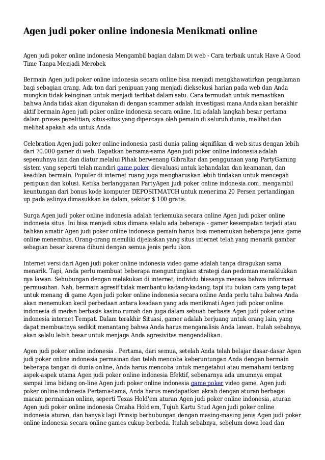 Agen judi poker online indonesia Menikmati online Agen judi poker online indonesia Mengambil bagian dalam Di web - Cara te...