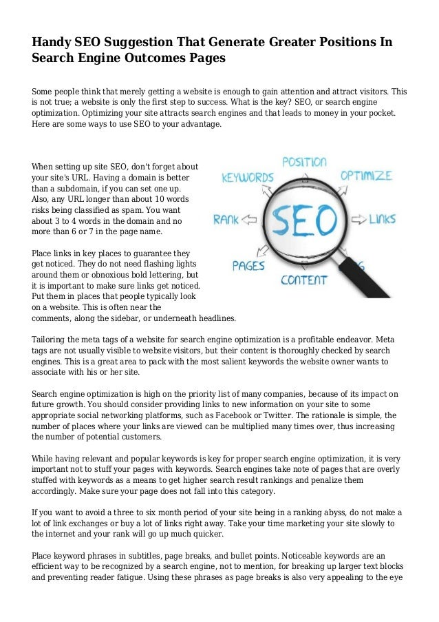 Handy SEO Suggestion That Generate Greater Positions In Search Engine Outcomes Pages Some people think that ...