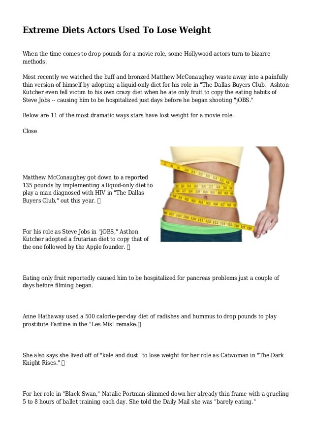 extreme diets that lose weight fast