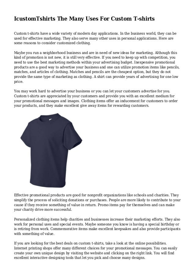 65ce633b IcustomTshirts The Many Uses For Custom T-shirts
