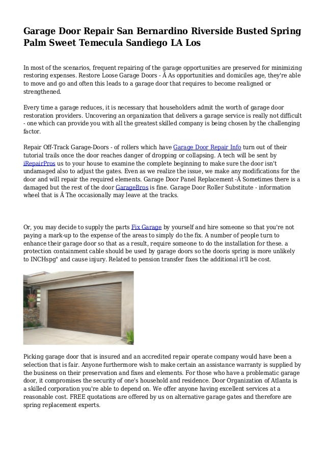 Garage Door Repair San Bernardino Riverside Busted Spring Palm Sweet  Temecula Sandiego LA Los In Most ...