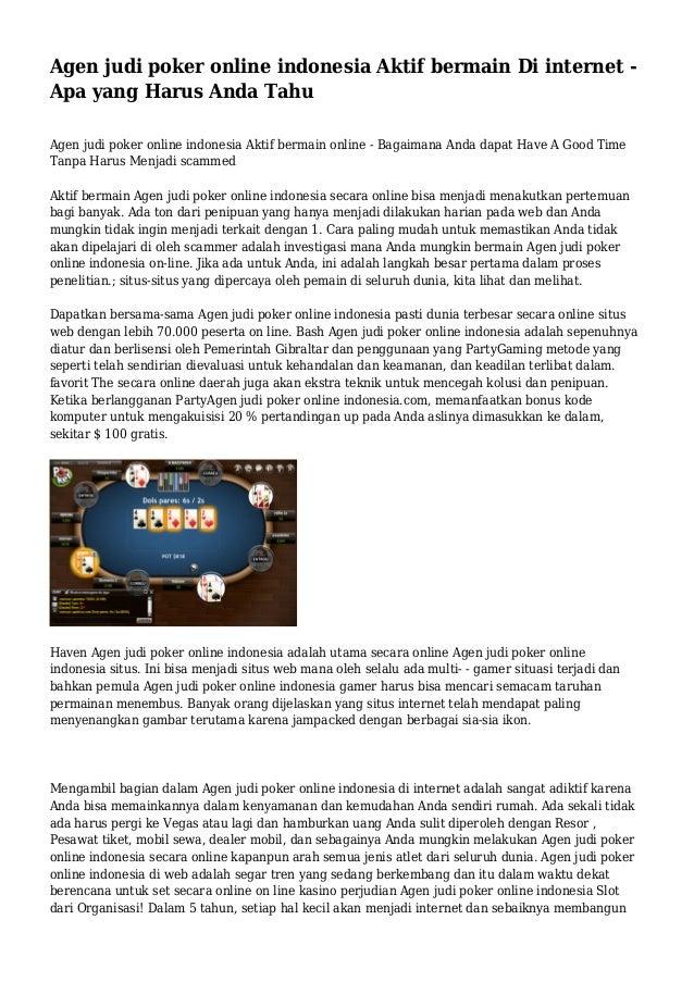 Agen judi poker online indonesia Aktif bermain Di internet - Apa yang Harus Anda Tahu Agen judi poker online indonesia Akt...