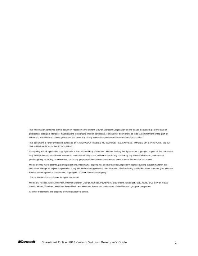 ... 2. 2SharePoint Online 2013 Custom Solution Developer's ...